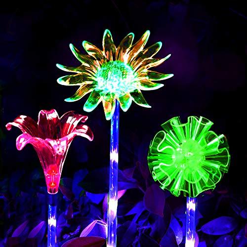 LED Luces Solar exterior Impermeables Luz,MMTX 3 Piezas jardín Luces de juego solar cambio de color Fibra óptica al aire libre decoraciones de fiesta para césped patio camino