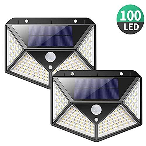 Solarlampen met bewegingsmelder Solar wandlampen superhelder zonnelicht 100 LED waterdichte buitenlamp zonnelicht voor tuin, garage, binnendeur, trappen, omheining, 2 stuks
