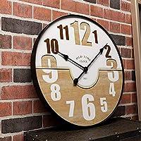 大規模なヴィンテージ素朴な木製の壁時計キッチンアンティークみすぼらしいシックなレトロな家、A、20インチ