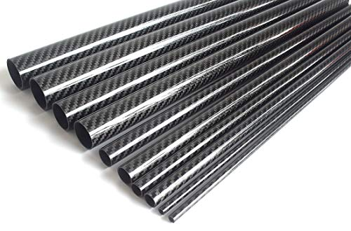 cncarbonfiber 2pcs Carbon Fiber Tube 12mmx10mmx420mm 3K roll Wrapped Twill Glossy Finish
