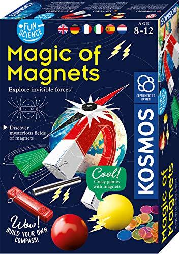 KOSMOS 616595 Fun Science - Magie der Magnete mehrsprachige Version (DE, EN, FR, IT, ES, NL) Erforsche unsichtbare Kräfte und baue dir einen Kompass, Experimentierset für Kinder