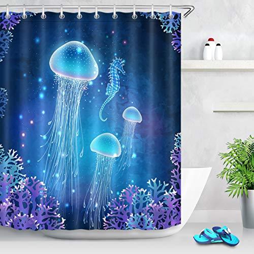 LB Magic Jellyfish Shower Curtain Blue Medusa Underwater Sea Life Shower Curtain Kids Funny Aquatic Bathroom Set,Waterproof Fabric 72x72 Inch with 12 Hooks