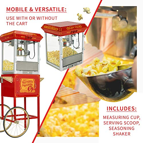 Product Image 4: Funtime FT860CR Antique Carnival-Style 8-Ounce Hot-Oil Popcorn Popper with Cart, Red