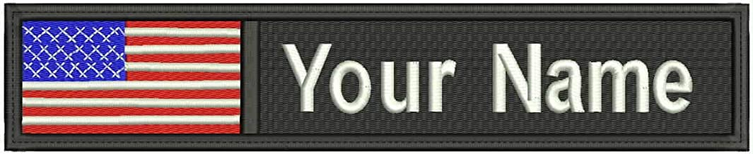 USA ID Flag Custom Embroidered Name/Text Tag Patch Sew, Iron on, Hook Touch Fasteners - Military/Morale - US Flag Tactical tag (Color) (5x1 inch)