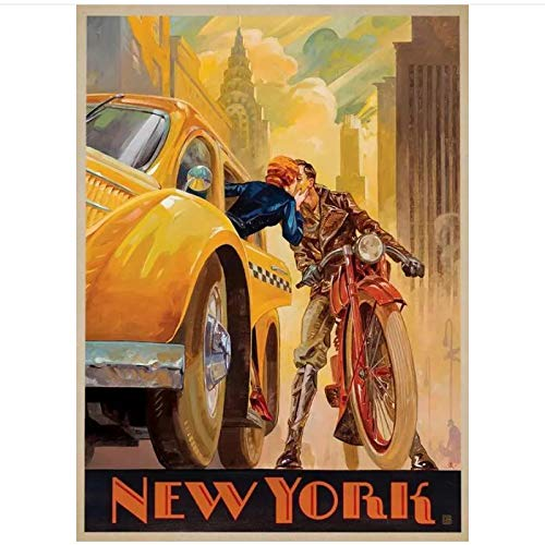 ZGHDHR New York City NYC Vintage Taxi Posters and Prints Canvas Painting Wall Art Pictures for Living Room Decor Paintings -50x70 cm No Frame 1 Pcs