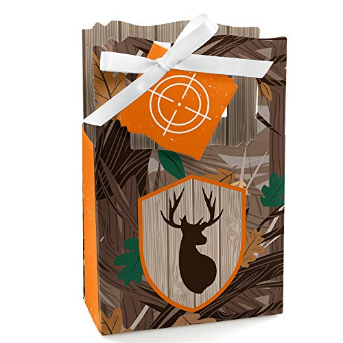 Gone Hunting - Deer Hunting Camo Baby Shower or Birthday Party Favor Boxes - Set of 12