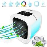 Glacial Refroidisseur d'Air Portable Silencieux avec Turbo Ventilation 5 Vitesses, Veilleuse LED RGB multicolores, Ecran Tactile Affichage Température