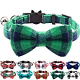 Joytale Quick Release Cat Collar with Bell and Bow Tie, Cute <span class='highlight'>Plaid</span> Patterns, 1 Pack Kitty Safety Collars, <span class='highlight'>Green</span>