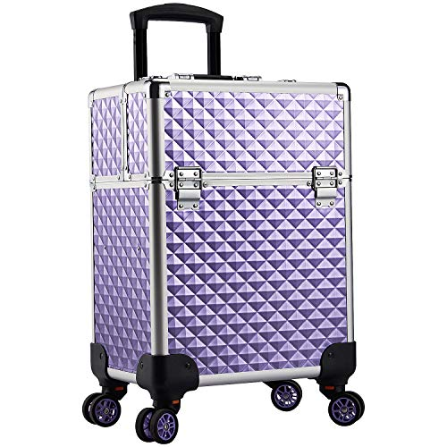 Stagiant Aluminum Rolling Makeup Train Case Large Organizer Cosmetic Trolley 4 Tray Sliding Rail Removable Middle Layer with Key Spinner Wheels Salon Barber Storage Case - Purple Diamond