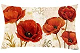 Jimrou Throw Pillow Cover 12x20inches Festival Gifts Retro Summer Poppy Flowers Art Print Cotton Linen Decorative Home Sofa Chair Car Lumbar Throw Pillow Case Cushion Cover
