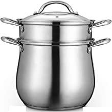 ZYSWP Stainless Steel Household Thickened Porridge Pot Gas Induction Cooker Soup Pot with Stew Pot Steamer