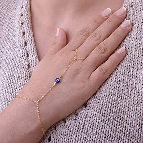 TseenYi Pulsera de cadena de dedo bohemio, con dedo dorado, azul del mal de ojo, joyería de mano de verano para mujeres y niñas