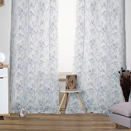 Viste tu hogar Pack 4 de Cortina Decorativa Semi Translúcida, Moderna y Elegante, para Salón o Habitación, 4 Piezas, 145 X 260 CM, Diseño Floral en Color Azul.