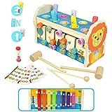 Symiu Giochi in Legno per Bambini 3 in 1 Martello Xilofono Strumenti Musicali Giocattolo Giochi Montessori Educativo Neonati 3 4 5 Anni Ragazze