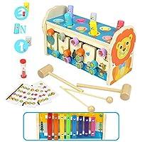 🐭 【Giocattoli in Legno Montessori 3 in 1 per bambini 3+ anno】Combina xilofono a 8 toni, gioco di martellare e gioco di labirinti. Ci sono 3 modi per giocare. I bambini possono divertirsi diverse ore e non si annoieranno.Questo giocattolo in legno tre...