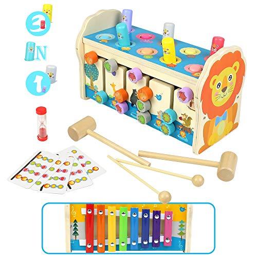 Symiu Juguetes Niños Bebes Educativos Juguetes de Madera 3 in 1 Montessori Xilofono Infantil Juguetes de Laberinto Clasificacion 3 4 5 Años Niños Niñas