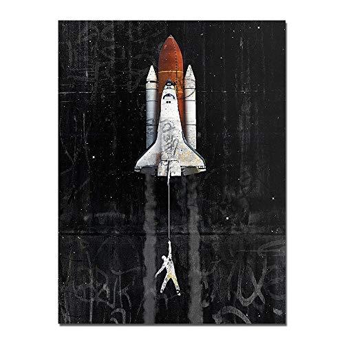 WIOIW Astronauta Abstracto Space Dreaming Stars Limit Rocket lanzando Transbordador Espacial Lienzo Pintura GraffitiWall Art Poster Sala de Estar Dormitorio Oficina Decoración del hogar