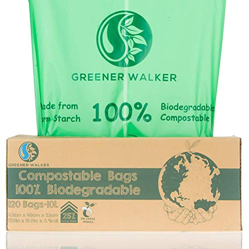 Greener Walker 25% très épais compost biodégradable 6L/10L/30L Poubelle les aliments cuisine Waste Bags(10L-120 sacs)