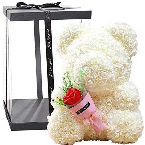 HUANRU Oso de flores de 40 cm, rosa eterna, decoracin de rosas artificiales, rosa de polietileno hecha a mano para madres, bodas, cumpleaos, festivales, Navidad, aniversarios.