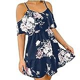 Womens Floral Print Summer Dresses Ruffle Off Shoulder Strap Sling Short Dress Elastic Waist Loose Dress Black