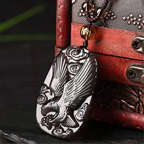 Pendiente de la obsidiana natural Feng Shui Pixiu Protección de la riqueza Lucky Amuleto Curación Cristal Charm Ajustable Cuerda Artesanía Joyería Hacienda Talismán Prosperidad Buena suerte