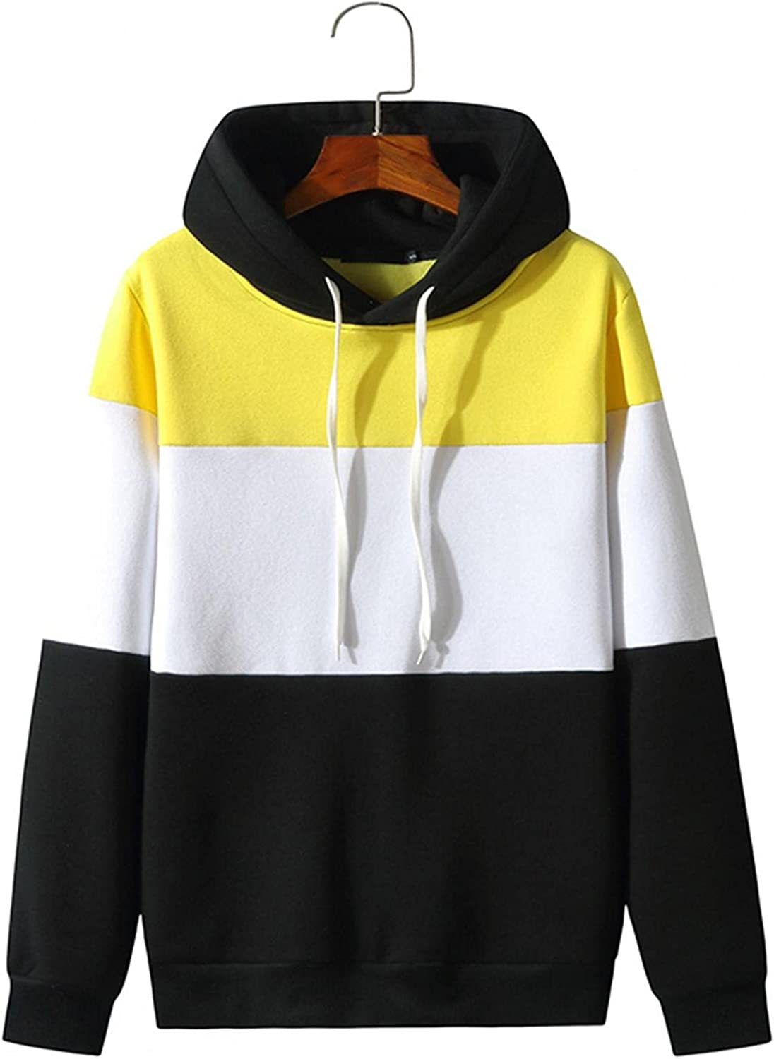 WoCoo Mens Hooded Top Blouse Long Sleeve Patchwork Pullover Sweatshirts Casual Contrast Color Drawstring Shirt Tops