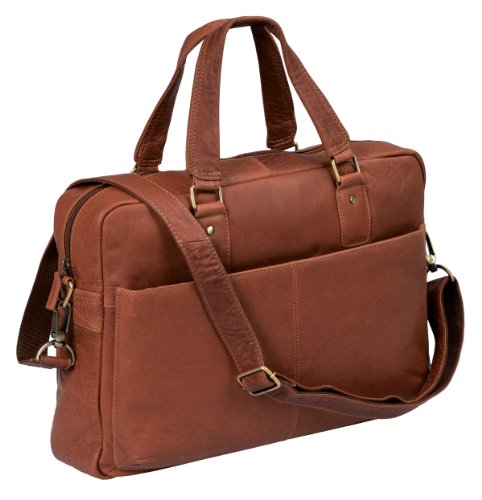 '''Stanford'' - laptoptas by CB in echt leer, cognac - ''LEAS Classic Bags'
