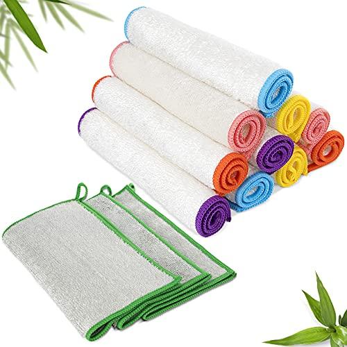 MASTERTOP Bambus Tücher [13Stück] - Nachhaltige Bambus Putztüche-Bambus Lappen für Küche, Haushalt Fenster