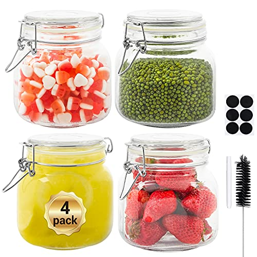 Glass Octopus 25oz Glass Jars with Airtight Lids, Glass Storage Jars with Leak Proof Rubber Gasket for Kitchen, Airtight Glass Storage Container for Snacks, Jams, Candy, 4 Pack(750ML), Square