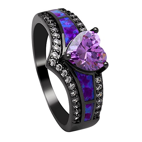 Ginger Lyne Collection Mystic Heart Shape Statement Promise Ring for Girls or Women Black Plated Simulated Fire Opal Clear Cubic Zirconia Goth Engagement Birthstone Jewelry Size 11