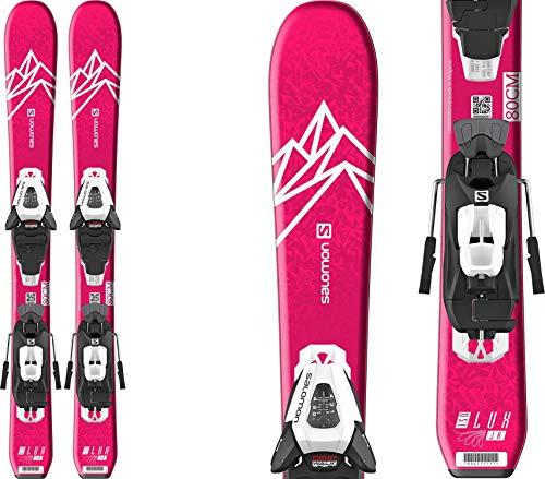 Salomon QST Lux Jr Small Skis 120 w/C5 GW Bindings Girl's Sz 120cm Pink/White
