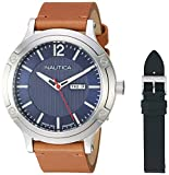 Nautica Men's Porthole Slim Stainless Steel Japanese-Quartz Watch with Leather Strap, Brown, 20.5 (Model: NAPPSP901)