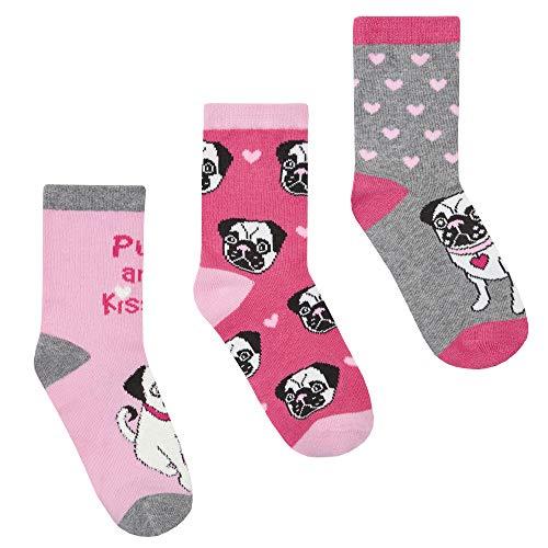 Baum Mädchen 3er Pack Neuheit Pet Design Socken (Möpse, EU 27-30)