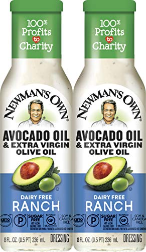 Newman's Own Avocado Oil & Extra Virgin Olive Oil Dairy Free Ranch Dressing, 8 oz (2 Pack)