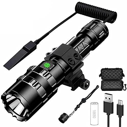 ANSET Torcia tattica, torcia tattica ricaricabile per fucile Luce da caccia a LED super luminosa impermeabile con montaggio su guida da 20 mm e interruttore per riprese in campeggio Luce bianca