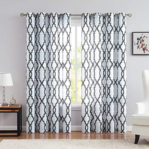 White Semi Sheer Curtains Geometric Print Trellis Design Grommet Top 84 Inches Long for Living Room Bedroom Kids Room, 54×84 Inches, 2 Panels, Black/White