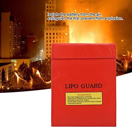 Bolsas para Documentos Resistentes al Fuego Portable for Money Carga Segura Protección de Pasaporte Efectivo(Red, Large)
