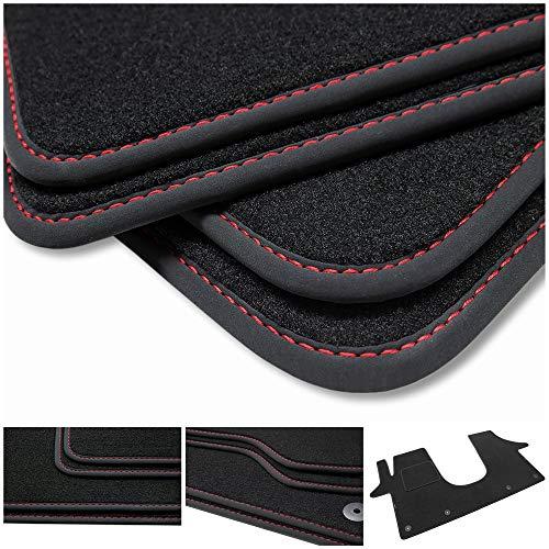 teileplus24 BV562 Velours Fußmatten für VW T5, T6 und T6.1 Trittschutz Fahrermatte, Naht:Rot