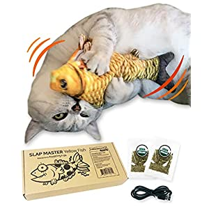 Moonshuttle Electronic Flopping Fish Cat Interactive Toy Slap Master