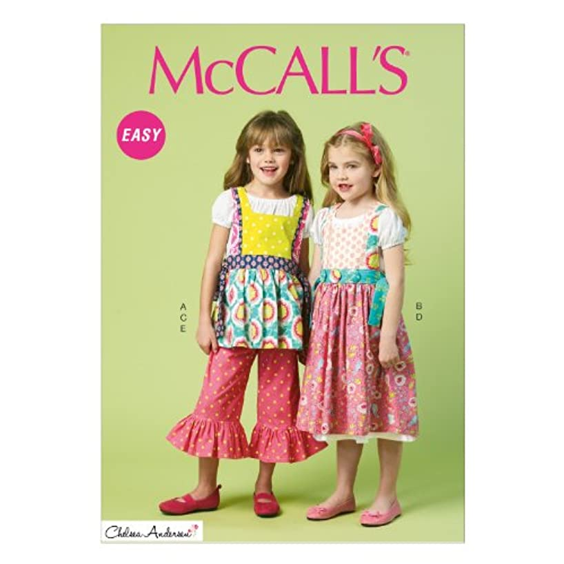 McCall Pattern Company M6916 Chidren's/Girls Top Dress Pinafores and Pants, Size CDD