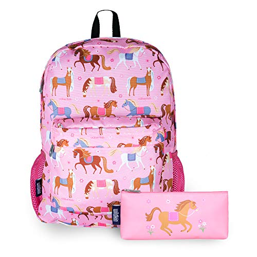 Wildkin Kids 16 Inch Backpack Bundle with Pencil Pouches (Horses)