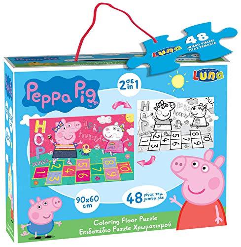 Luna Puzzle 2 en 1 gigante de suelo Peppa Pig puzzle de 48 piezas, tamaño XXL, 90 x 60 cm