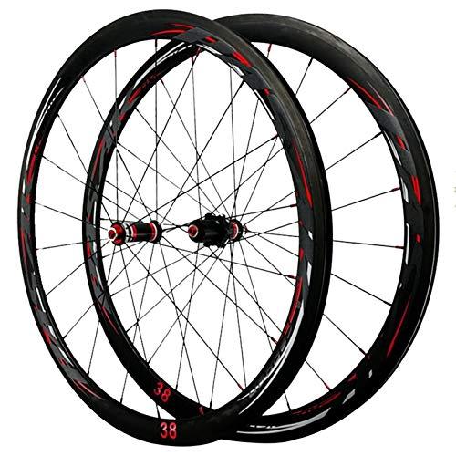Juego Ruedas Bicicleta 700C para Bicicleta Carretera 38mm Llanta De Aleación De Aluminio C/V De Freno Lanzamiento Rápido Palin Teniendo 7-12 Velocidad