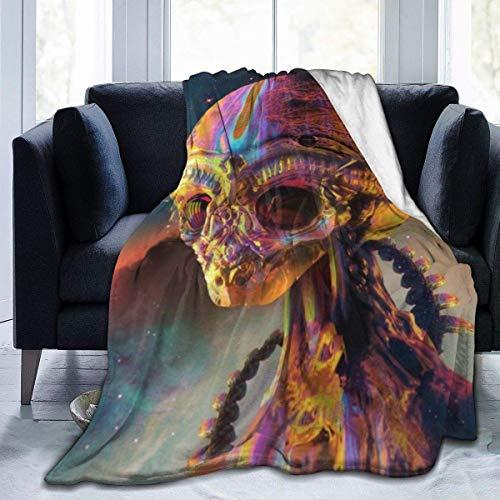 Lsjuee Sci Fi Alien Colorful Head Psychedelic Skeleton Manta Franela Mantas de Microfibra Súper Suave Fuzzy Luxury Adecuado para Cama Sofá Travel Four Seasons Manta 50 x40