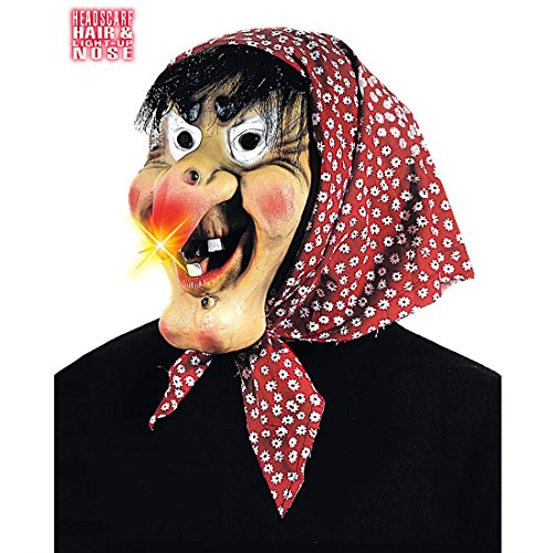 NET TOYS Maschera Strega Naso Illuminato Vecchia befana Maga Capelli Fazzoletto Horror Halloween