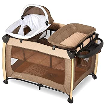 Dream On Me Princeton Deluxe Playard I Nap 'N pack I Play Yard I Infant Bassinet I Compact Fold I Removeable Changing Table I Removable Napper Beige
