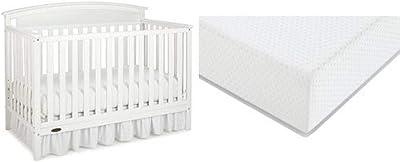 Graco Benton Convertible Crib + Graco Premium Foam Crib and Toddler Bed Mattress, White