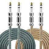 Câble Jack Guitare EBXYA 6,35 vers 6,35 mm Câble Stéréo Guitare Électrique Nylon Tressé Balancé TRS Bass Câble 2m