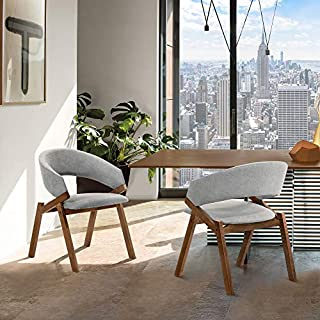 "Armen Living Talulah Fabric Veneer Dining Side Chairs-Set of 2, 19"" SH, Gray/Walnut (B08Z36CD4C) | Amazon price tracker / tracking, Amazon price history charts, Amazon price watches, Amazon price drop alerts"