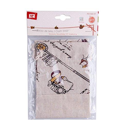 MP pd166–01–Set di 2sacchi di tessuto con chiusura di Cordon
